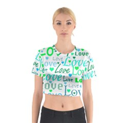 Love pattern - green and blue Cotton Crop Top