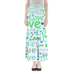 Love pattern - green and blue Maxi Skirts