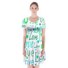 Love pattern - green and blue Short Sleeve V-neck Flare Dress