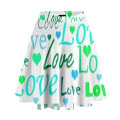 Love pattern - green and blue High Waist Skirt