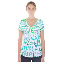 Love pattern - green and blue Short Sleeve Front Detail Top