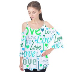 Love pattern - green and blue Flutter Tees
