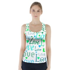 Love pattern - green and blue Racer Back Sports Top