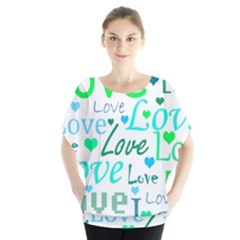 Love pattern - green and blue Blouse