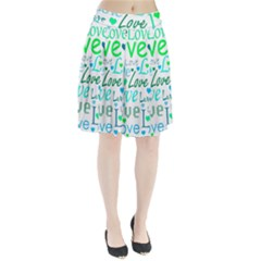 Love pattern - green and blue Pleated Skirt