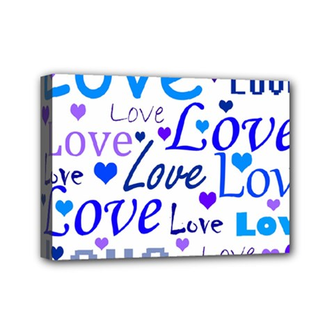 Blue and purple love pattern Mini Canvas 7  x 5