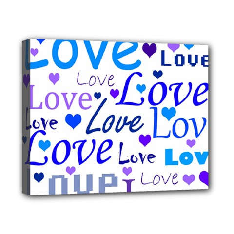 Blue and purple love pattern Canvas 10  x 8
