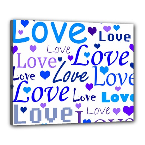 Blue and purple love pattern Canvas 20  x 16