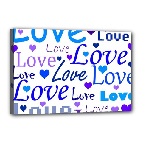 Blue and purple love pattern Canvas 18  x 12