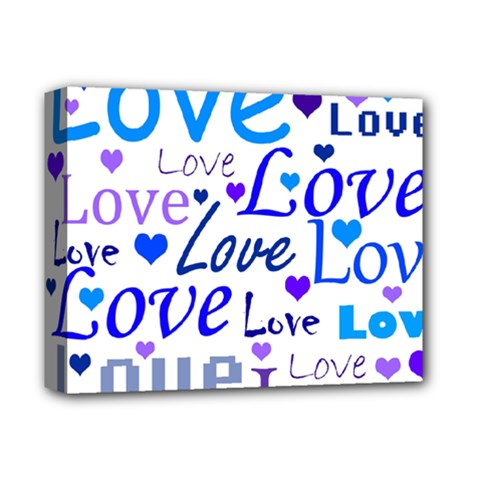 Blue and purple love pattern Deluxe Canvas 14  x 11