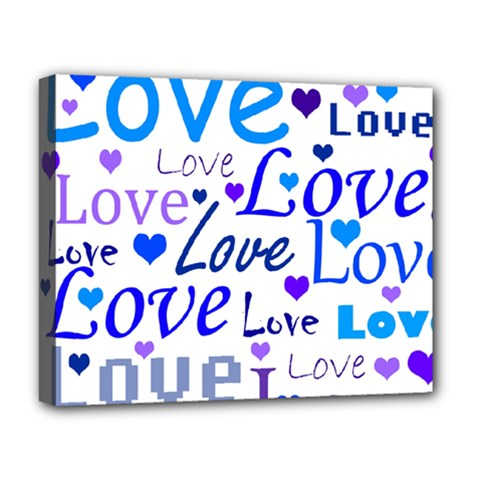 Blue and purple love pattern Deluxe Canvas 20  x 16
