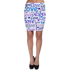 Blue and purple love pattern Bodycon Skirt