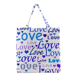 Blue and purple love pattern Grocery Tote Bag
