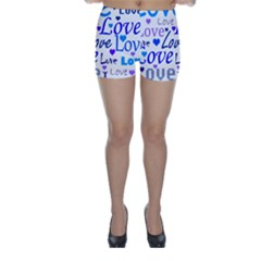 Blue and purple love pattern Skinny Shorts