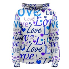 Blue and purple love pattern Women s Pullover Hoodie