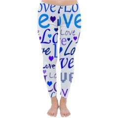 Blue and purple love pattern Classic Winter Leggings