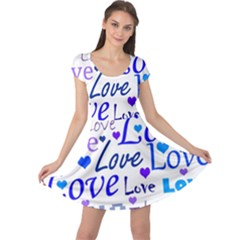 Blue and purple love pattern Cap Sleeve Dresses