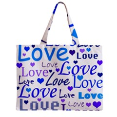 Blue and purple love pattern Zipper Mini Tote Bag