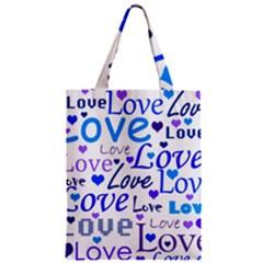 Blue and purple love pattern Zipper Classic Tote Bag