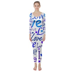 Blue and purple love pattern Long Sleeve Catsuit
