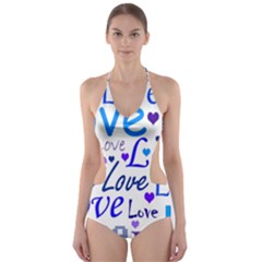 Blue and purple love pattern Cut-Out One Piece Swimsuit
