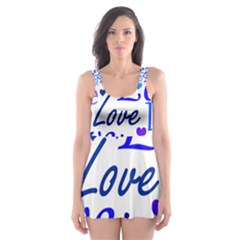 Blue and purple love pattern Skater Dress Swimsuit