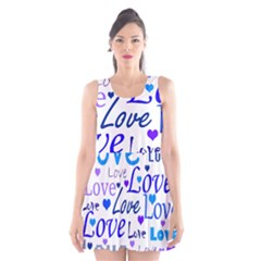 Blue and purple love pattern Scoop Neck Skater Dress