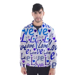 Blue and purple love pattern Wind Breaker (Men)