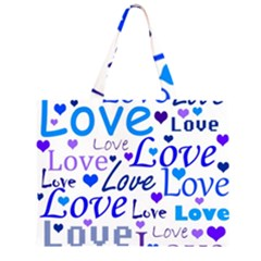 Blue and purple love pattern Large Tote Bag
