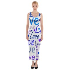 Blue and purple love pattern Fitted Maxi Dress