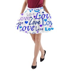Blue and purple love pattern A-Line Pocket Skirt