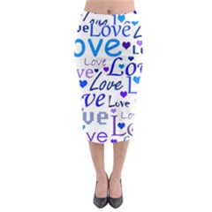 Blue and purple love pattern Midi Pencil Skirt