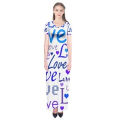 Blue and purple love pattern Short Sleeve Maxi Dress