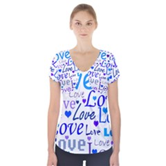 Blue and purple love pattern Short Sleeve Front Detail Top