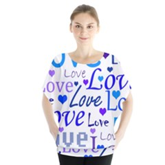 Blue and purple love pattern Blouse