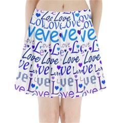 Blue and purple love pattern Pleated Mini Skirt