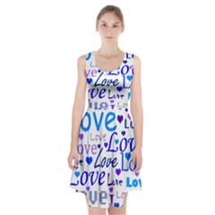 Blue and purple love pattern Racerback Midi Dress