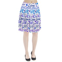 Blue and purple love pattern Pleated Skirt