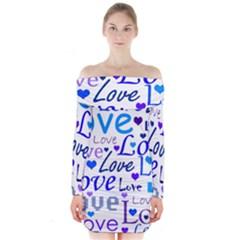 Blue and purple love pattern Long Sleeve Off Shoulder Dress