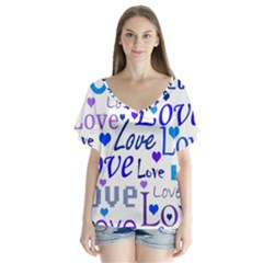 Blue and purple love pattern Flutter Sleeve Top