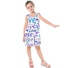 Blue And Purple Love Pattern Kids  Sleeveless Dress