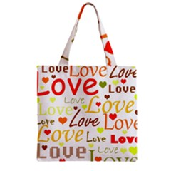 Valentine s day pattern Zipper Grocery Tote Bag