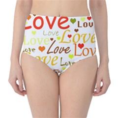 Valentine s day pattern High-Waist Bikini Bottoms