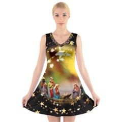 Christmas Crib Virgin Mary Joseph Jesus Christ Three Kings Baby Infant Jesus 4000 V-Neck Sleeveless Skater Dress