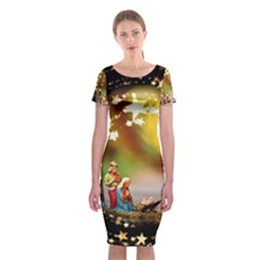 Christmas Crib Virgin Mary Joseph Jesus Christ Three Kings Baby Infant Jesus 4000 Classic Short Sleeve Midi Dress