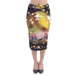 Christmas Crib Virgin Mary Joseph Jesus Christ Three Kings Baby Infant Jesus 4000 Velvet Midi Pencil Skirt