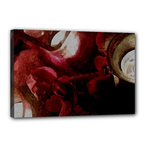 Dark Red Candlelight Candles Canvas 18  x 12
