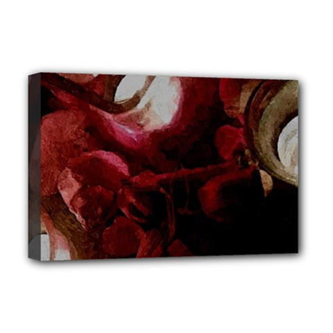 Dark Red Candlelight Candles Deluxe Canvas 18  x 12