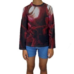 Dark Red Candlelight Candles Kids  Long Sleeve Swimwear