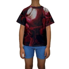 Dark Red Candlelight Candles Kids  Short Sleeve Swimwear